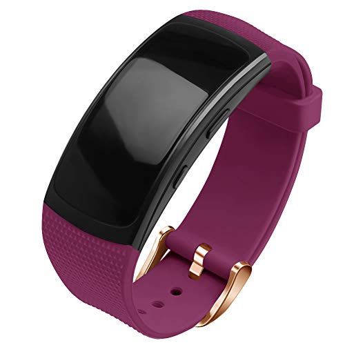 OenFoto kompatibel Gear Fit 2 Pro/Fit 2 Armband, Zubehör Ersatzgurt aus Silikon für Samsung Gear Fit 2 Pro SM-R365 und Gear Fit 2 SM-R360 Smartwatch -Rot/Schwarz -