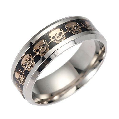 Damen Herren Golden Skull Mode Ring Schwarz Epoxy Staines Steel Engagement Band Ringe Größe 10 (Schwarz Ring Größe 10)
