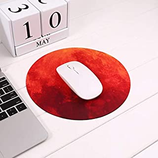 oplon Mond Mousepad Rund 22 cm, Qualitäts Mauspad aus strapazierfähigem Kunststoff mit rutschfester Unterseite - passend für alle gängigen Mouse-Typen