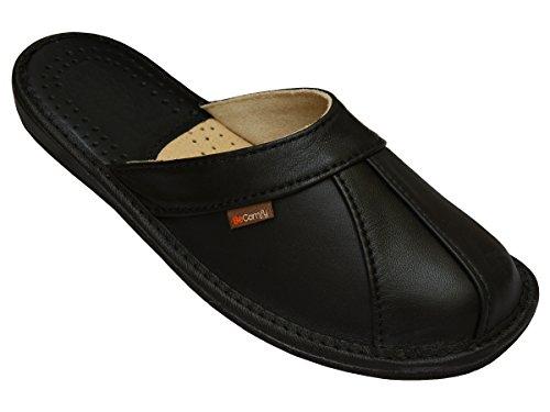BeComfy Herren Hausschuhe Leder (Kalbsleder) Pantoffeln Schwarz Geschenkkarton (Wahlweise) Modell MI09 (43, Schwarz)