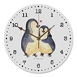 Mr. & Mrs. Panda Kinderzimmer, Kunderuhr, 30 cm Wanduhr Pinguin umarmend - Farbe Weiß
