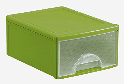 Rotho Frontbox Schubladenbox, Kunststoff (PP), grün/transparent, (32,5 x 23 x 11 cm)