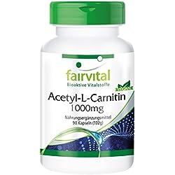 fairvital - Acetil L Carnitina 1000mg - 90 Cápsulas - Acetil L Carnitina (ALC) es la forma más efectiva de L-Carnitina