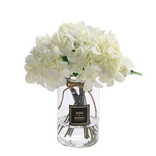 Veryhome Künstliche Hortensien aus Seide, Blumenstrauß, Dekoration für Heim, Garten und Hochzeit weiß