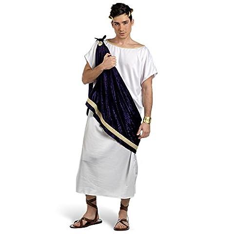 Costume de dieu grec Pelayo, tunique, pièce d'étoffe, broche, ornements dorés - Idéal pour le Carnaval - Pour homme - XL