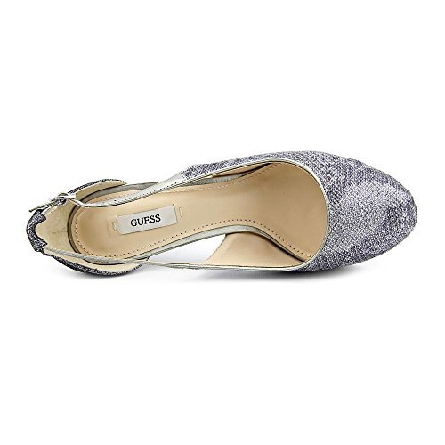 Guess Jacobaly Toile Sandales Compensés Silver Multi