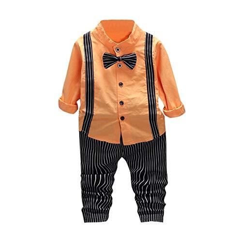 Doublelift Niedliche Kinderbekleidung Kleinkinder Strampler Pyjama kostüm Jumpsuit Spielanzug Kleinkind Baby Jungen Feste Fliege Shirt Tops Streifen Outfits Set Tops + Gestreifte Hose