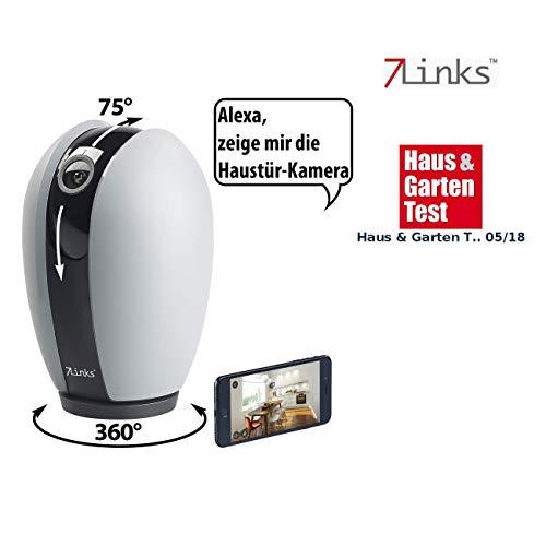 7links Alexa Kamera: WLAN-HD-Überwachungskamera, App, Nachtsicht, Pan/Tilt, für Echo Show (Überwachungscamera)