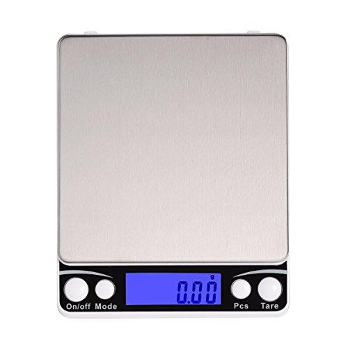 Corlfe 500g x 0.01g Bilancia da cucina digitale, 0,001 once (0.01g) ad alta bilancia di precisione dei monili Bilancia da cucina con acciaio inossidabile Piattaforma retroilluminato display (2 vassoi inclusi)