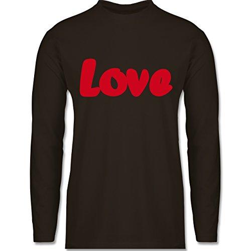 Shirtracer Romantisch - Love - Herren Langarmshirt Braun