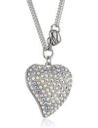 Guess Damen-Halskette Silberfarben Rhodiniert Anhänger mit Weien Schmucksteinchen 45-50cm UBN80124