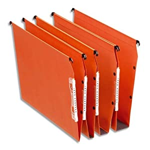 Esselte Dual Lateral Suspension Files, A4, 15mm Capacity, Pack of 25 Connectable Files, Tabs Included, Orange, Orgarex Range, 21628