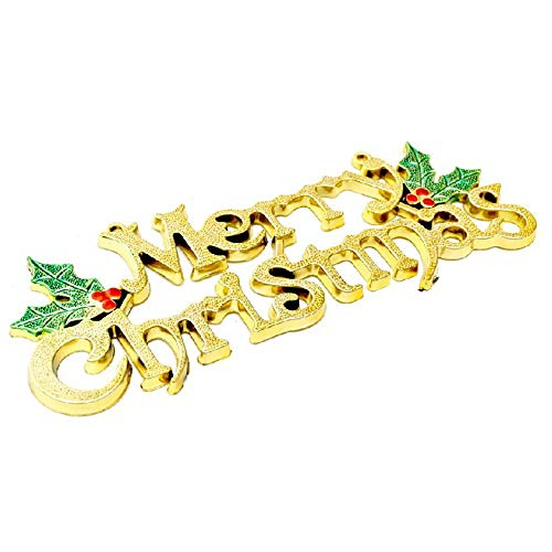 s Tree Decoration Shiny Merry Letter Card for Xmas Hanging Ornament Frohe Weihnachten Weihnachtsbriefkarte 14cm Gold ()