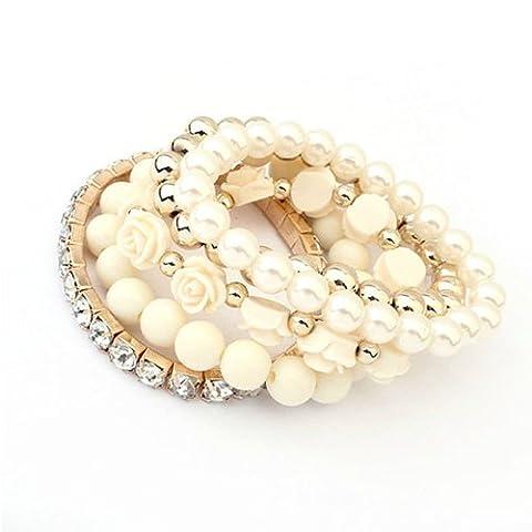 Amonfineshop(TM) 1 Set Acryl-Rosen-Blumen Runde Perle Glänzende Strass Kristall elastische Armband