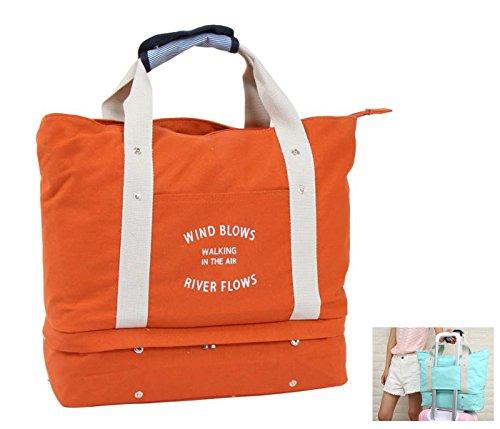 HongyuTing Damen Vintage Groß Weekender Handgepäck ,Canvas Reisetasche, Umhängetasche Orange