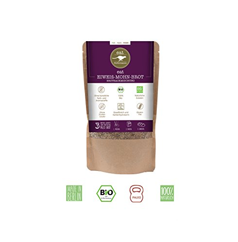 EIWEIß MOHN BROTBACKMISCHUNG (250g) von eat Performance || Bio | Paleo | ohne Zuckerzusatz | glutenfrei | laktosefrei | low carb | eiweißreich | superfood | clean eating |