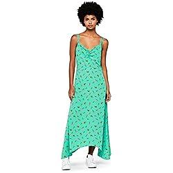 FIND Vestido Largo de Tirantes con Estampado de Flores Mujer, Verde (Green), Medium