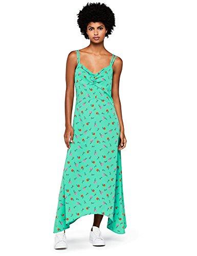FIND Vestido Largo de Tirantes con Estampado de Flores Mujer, Verde (Green), X-Large