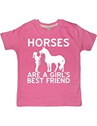 Edward Sinclair Horses are a Girls Best Friend Childrens Bubblegum Pink Horsey T-Shirt with White Glitter Print