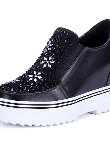 ZQ Scarpe Donna - Mocassini - Tempo libero / Casual - Comoda / Punta arrotondata - Zeppa - Di pelle - Nero , black-us8 / eu39 / uk6 / cn39 , black-us8 / eu39 / uk6 / cn39 black-us6.5-7 / eu37 / uk4.5-5 / cn37