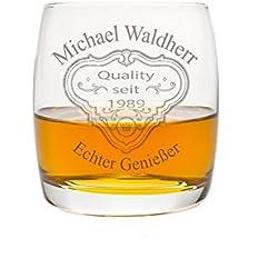 """Edles Whiskeyglas mit Gravur Motiv """"Patch II"""" Geschenkidee Whisky-Glas graviert Geburtstagsgeschenk Vatertag"""