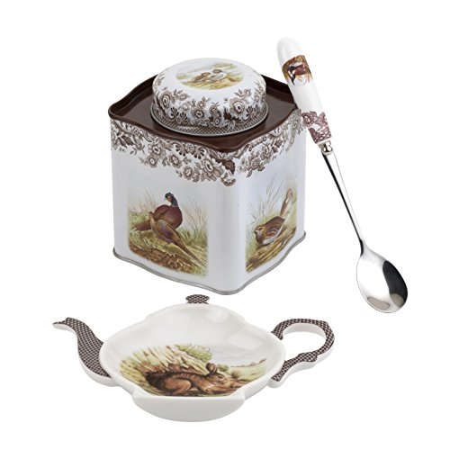Spode 2019008339 Filterlinsen-Set (Woodland Tee-Set (Rest, Löffel und Zinn Caddy) -