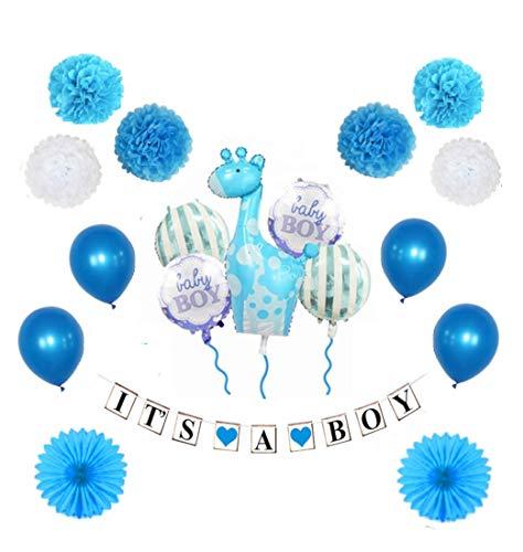 MW & P Babyparty Junge - Babyshower - It's a Boy - Baby Party Dekoration - Deko - Baby Shower Set (Banner, Luftballons, Pom Poms) - 18 Teile (Junge)
