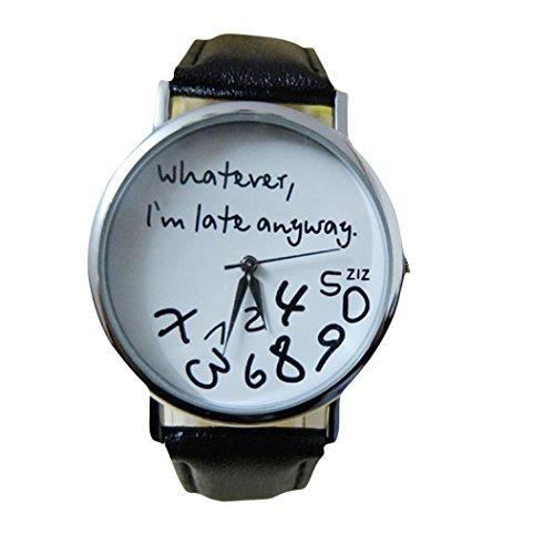 """Longra Heiße Frauen Leder Uhr """" Whatever I am Late Anyway """" Brief Uhrschwarzweiss Schwarz"""