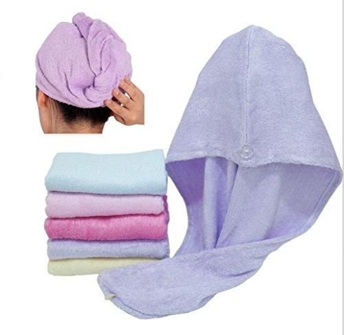 Happyit 1 PCS Hohe Qualität 100% Bambusfaser Weiche Kopf Handtuch Super Magie Absorbierende Haar Trocknen Hut für frauen Mädchen dame Bad Dusche (Lila)