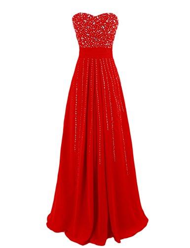 Dresstells Damen Lange Abendkleider Strapless Brautjungfernkleider Rot