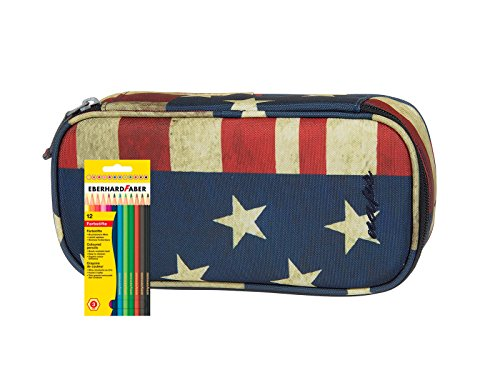 Syderf Stiftebox NAPS mit 12 Faber Farbstiften - versch. Farben (Unikat in American / Flagge USA)