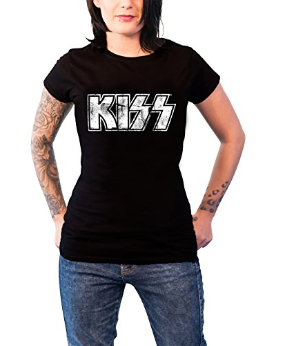 Kiss Distressed Classic Logo Nue Offiziell Damen Skinny Fit Schwarz T Shirt