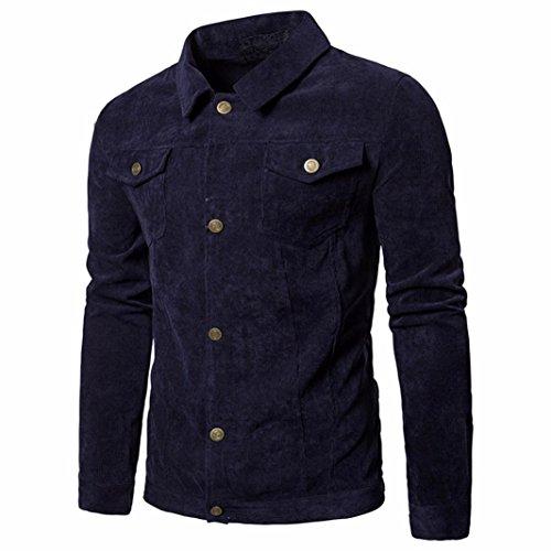 Mamum Herren Mantel, lange Hülse Kord tops Umlegekragen Jackenmantel outwear mit Tasche Navy/Kaffee (Navy, l)