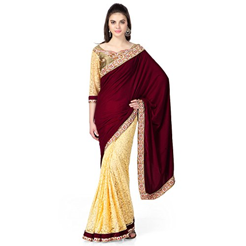 Janasya Women's Brasso & Net Saree (JNE0641.D _Multi-Coloured)  available at amazon for Rs.499