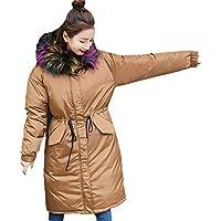 ☺Wintermantel Daunenjacke Damen Langer Übergangs Jacke Premium Outwear Frauen Winter Warm Daunenmantel mit Haar Kragen Steppjacke Leichte Mantel Oberbekleidung Trenchcoat Winterjacke Warm Parka Jacke
