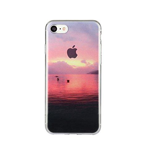 DBIT iPhone 7 Case, PU Pelle Flip Placcatura TPU Custodia Protezione Case Cover per Apple iPhone 7,Argento barca di twilight