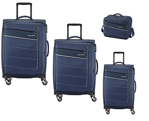 KITE 4-tlg. Kofferset, 4-Rad L/M erweiterbar/S, Bordtasche, Marine, 89940-20