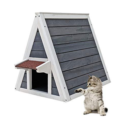 Katzenhaus mit Zwei Zugängen Katzenhütte Kleintierhaus Lodge Tierhaus Fluchttür Wetterfest