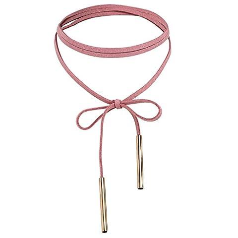 Adisaer Choker Samt Rosa Collier Damen Einstellbar Lange Halskette Anhänger Gold 136CM Länge Kette Gothic