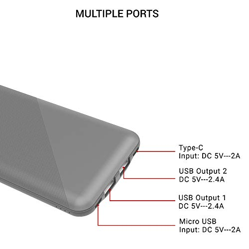 Syska Power Core 100 P1015B-GY 10000mAH Lithium Polymer Power Bank (Gray) Image 5