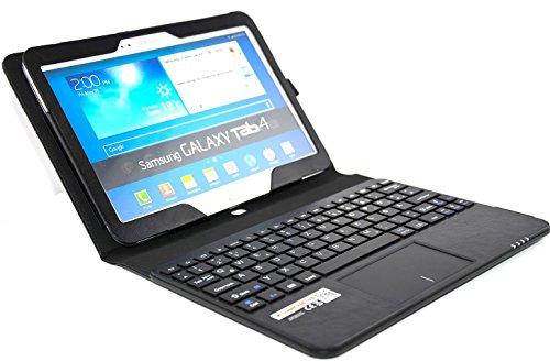 SonnyGoldTech - Samsung Galaxy Tab 4 10.1 Tasche mit Bluetooth Tastatur und integriertem Touchpad | Galaxy Tab 4 10.1 Tastatur Hülle mit integriertem Touchpad (für LTE SM-T535, WiFi SM-T533 und WiFi SM-T530) | Layout: Deutsch | Farbe: Schwarz | Touchpad unterstützt Scroll-Funktion
