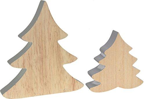 CHICCIE Tannenbäume Aus Holz   2 Set 11cm 20cm Grau   Weihnachten Deko