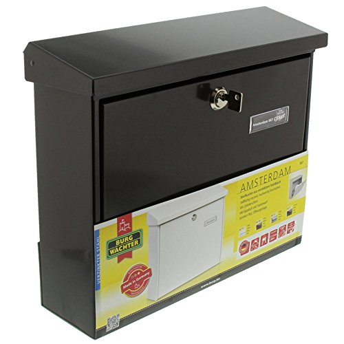 BURG-WÄCHTER, Briefkasten mit Öffnungsstopp, A4 Einwurf-Format, Verzinkter Stahl, Amsterdam 867 BR, Braun - 7