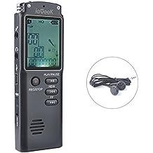 Digitales Diktiergerät, ieGeek USB Digitalrecorder 8GB HD Stereo Audio Aufnahmegerät 1536Kbps Voice Recorder mit Doppelmikrofon / Spracherkennung Lautsprecher / Geräuschunterdrückung + Kopfhörer für Klasse, Konferenzen, Interviews