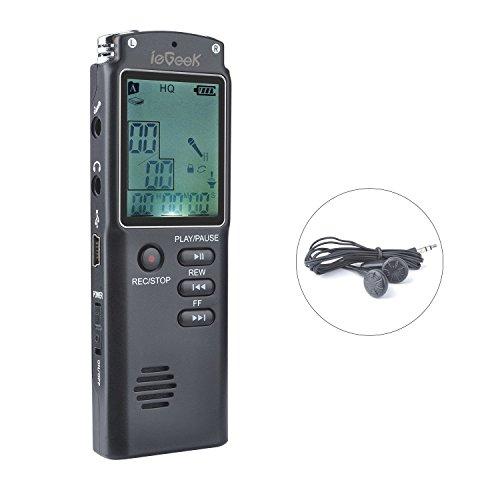 Digitales Diktiergerät ieGeek USB Digitalrecorder 8GB HD Stereo Audio Aufnahmegerät 1536Kbps Voice Recorder mit Doppelmikrofon Spracherkennung Lautsprecher Geräuschunterdrückung für Klasse Konferenzen