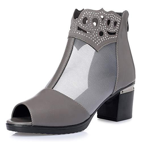 Elegant Comfort Soft Summer Shoes Woman Sandals Large Size Mesh Cool Boots Square Heel Rhinestone Fashion Sandals Women Shoes deep Gray 012 10