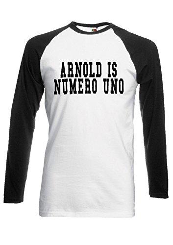 Arnold is Numero UNO Number one Cool Novelty Black/White Men Women Unisex Long Sleeve Baseball T Shirt-M -