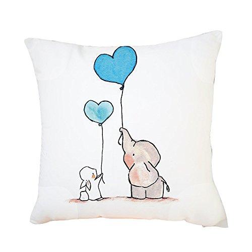 FeiliandaJJ Kissenbezug 45x45cm Pillowcase Kopfkissenbezug,Elefant Niedlich Drucken,Valentinstag Weihnachten Jahr Geschenk,für Wohnzimmer Sofa Bed Home (C) -