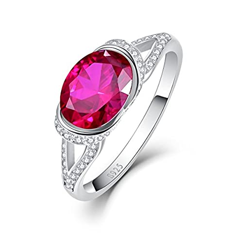 Bonlavie Oval-Cut Created Ruby July Birthstone Ring in 925 Sterling Silver for Women Size S