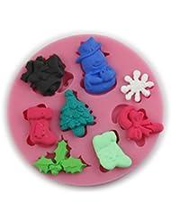 Auket Noël de bonhomme de neige chaussette Gâteau Fondant Sucre Artisanat décoration de gâteau de moule de silicone # 134